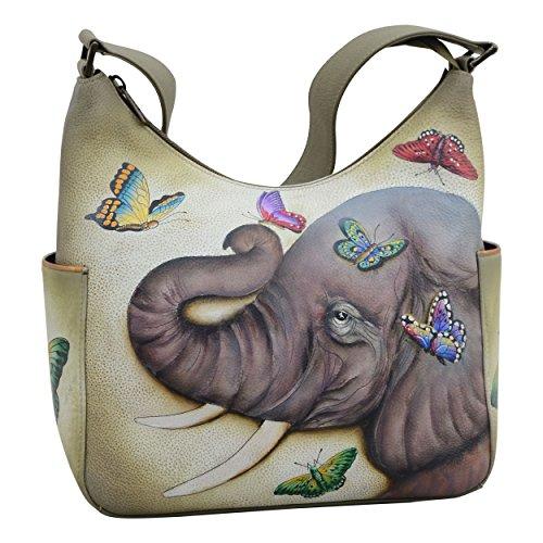 Anuschka Women's Genuine Leather Handbag   Classic Hobo With Side Pocket   Gentle Giant