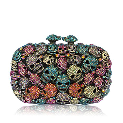 IBELLA Colorful Skull Purses And Handbags Party Clutches For Womens Evening Bags