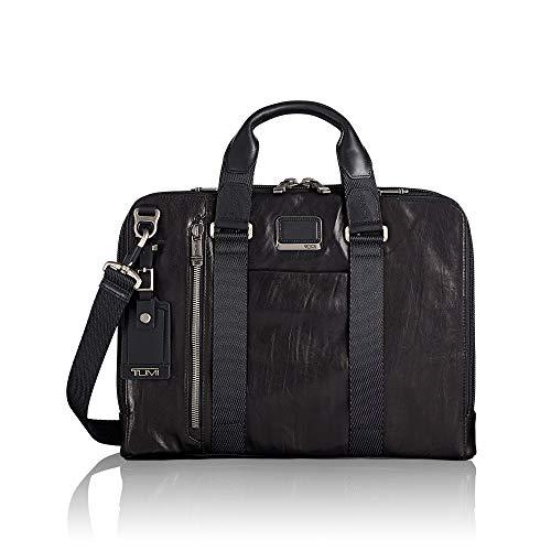 TUMI – Alpha Bravo Aviano Leather Laptop Slim Brief Briefcase – 15 Inch Computer Bag for Men and Women – Black