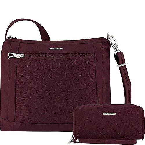 Travelon Anti-Theft Square Crossbody and Wallet Set – Medium RFID Lined Handbag for Travel & Everyday – (Dark Bordeaux/Dusty Rose Interior)