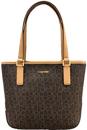 Calvin Klein Monogram Leather Trim Top Tote, Brown