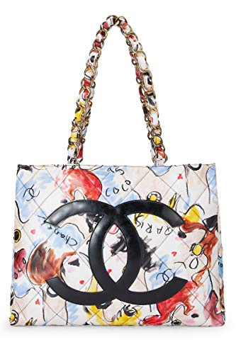 CHANEL Multicolor Quilted Vinyl Logo Chain Tote (Pre-Owned)