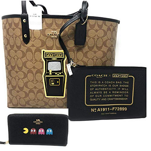COACH LIMITED EDT CANVAS/BLACK REVERSIBLE PACMAN GAME TOTE | WRISTLET AND WALLET 3in1 BUNDLE EXCLUSIVE BY EUROPEAN PARTNERS