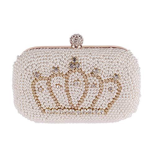 Nuanxin Pearl Evening Gift Bag, Clutch Bag, Wallet, Diamond Crown Banquet Bag, Handbag, (Color: Beige) Binding Woven Design U10