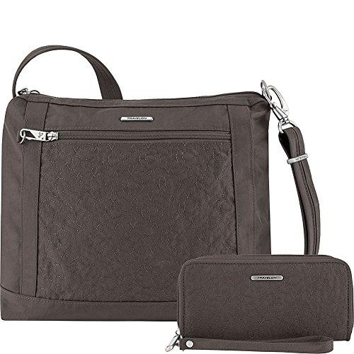 Travelon Anti-Theft Square Crossbody and Wallet Set – Medium RFID Lined Handbag for Travel & Everyday – (Smoke/Teal Interior)
