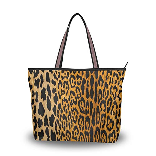 Large Tote Bags Leopard Animal Prints Handbags with Zipper Lightweight for Women