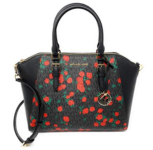 Michael Kors Ciara Large Top Zip Satchel Bag – Floral Black/Red