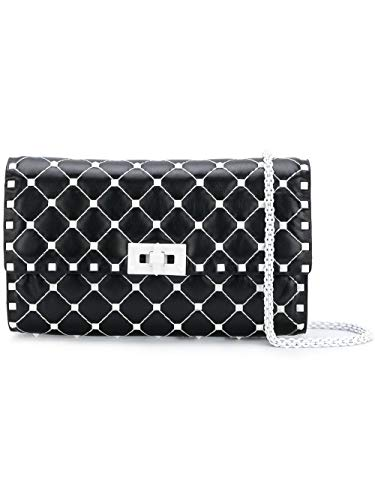 Valentino Black White Italy Rockstud Matelassé Leather Clutch Bag New
