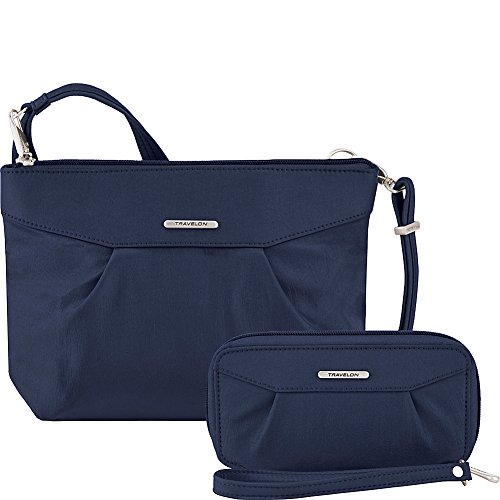 Travelon Anti-Theft Crossbody and RFID Clutch – Small Handbag & Wallet Set for Travel & Everyday – (Royal Blue/Gray Interior)