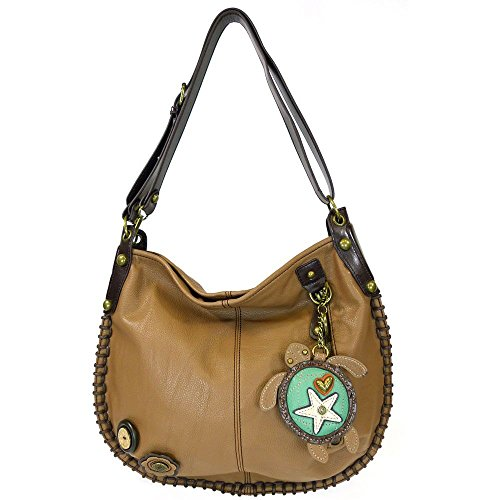 Chala Handbags Charming Hobo Crossbody Purse Sea Turtle,Brown,Large