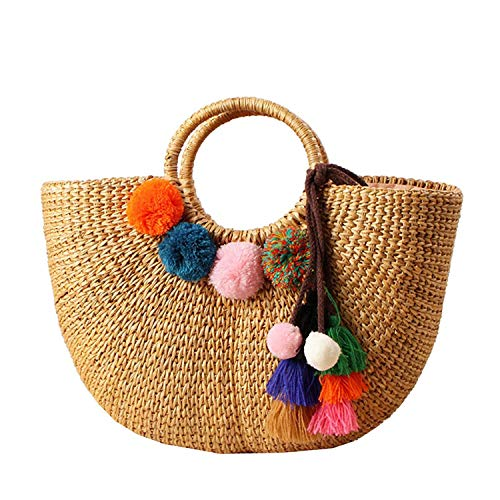 ShouJiao Womens Vintage Straw Woven Handbag Casual Beach Vacation Large Tote Bags with Round H le Ring Hairball