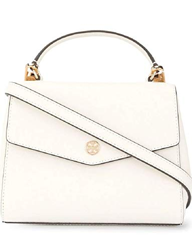 Tory Burch Women's Robinson White Leather Top Handle Satchel Handbag