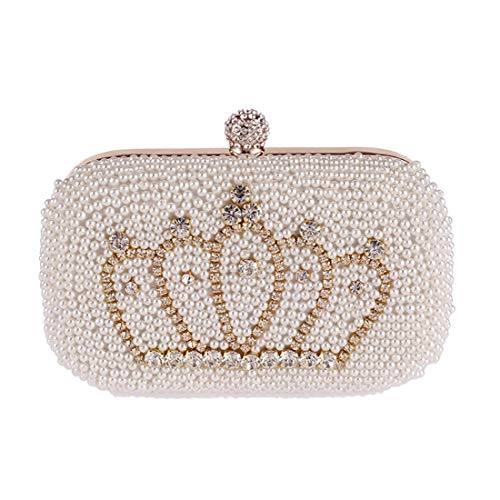 Waitousanqi Pearl Evening Gift Bag, Clutch Bag, Wallet, Diamond Crown Banquet Bag, Handbag, (Color: Beige) Binding Woven Design