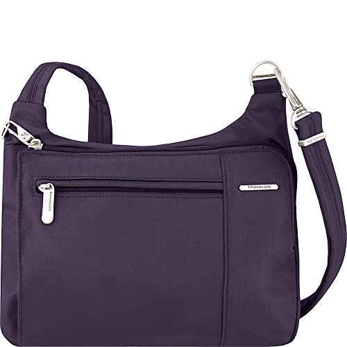 Travelon Anti-Theft Asymmetric East/West Bag – Small Nylon Crossbody for Travel & Everyday – (Purple/Gray Interior)