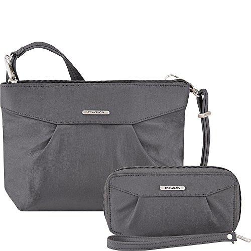Travelon Anti-Theft Crossbody and RFID Clutch – Small Handbag & Wallet Set for Travel & Everyday – (Pewter/Dark Emerald Interior)