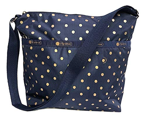 LeSportsac Speckle Dot Small Cleo Crossbody Handbag, Style 7562/Color D954 (Navy/Metallic Gold Speckles)