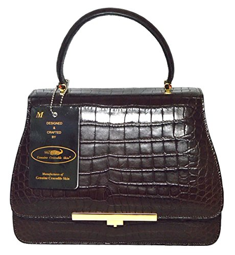 Authentic M Crocodile Skin Womens Belly W/Strap Clutch Bag Purse Baguette Handbag