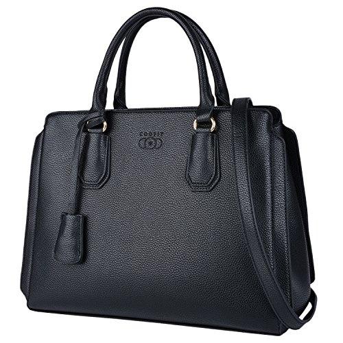 Black Purse, COOFIT Handbags for Women Shoulder Bag Satchel Handbag with Detachable Strap