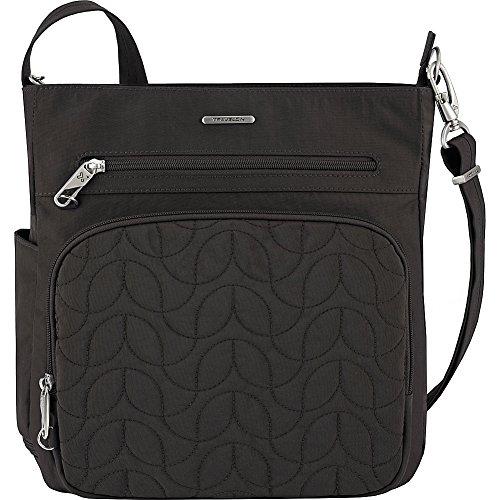 Travelon Anti-Theft Quilted North South Bag – Medium Nylon Crossbody for Travel & Everyday – (Black/Dark Emerald Interior)