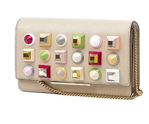 Fendi Mini Bag Calf Leather Cream White with Multicolor Studs 8M0346