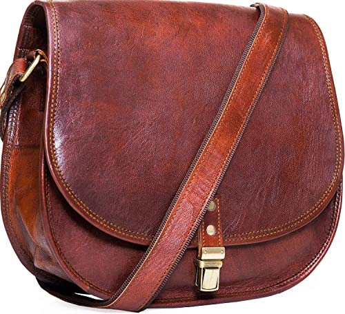 Urban Leather Crossbody Bags for Women Saddle Bag Purse Handbags Gift for Young Women & Teen Girls   Genuine Leather Satchel Shoulder Bags Small Size 12 inch