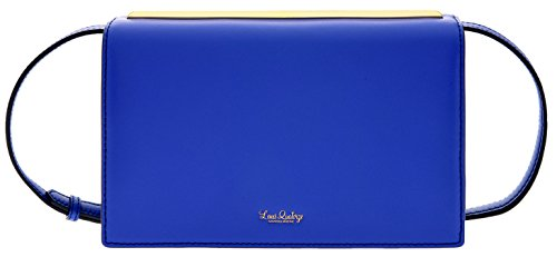 LQ LOUIS QUATORZE Women's Cow Leather Clutch Handbag with Long Strap Blue HL3BX01BU One Size