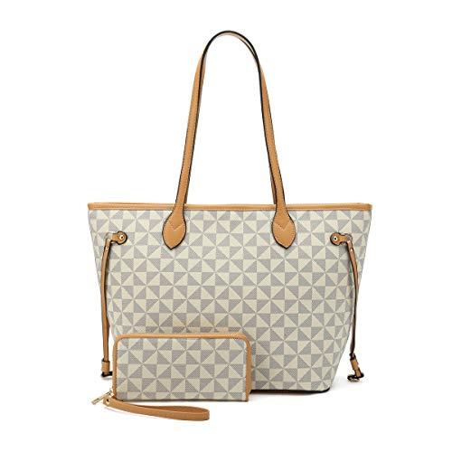 Satchel Purses and Handbags for Women Shoulder Tote Bags Wallets Top Handle Messenger Hobo 2pcs Set (New White)