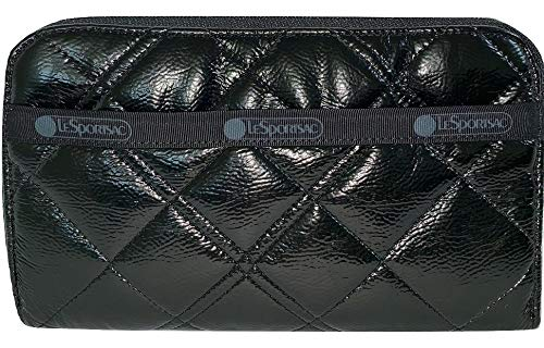 LeSportsac Black Crinkle Quilted Patent Lily Wallet, Style 6506/Color H026