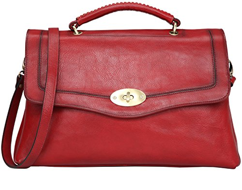 Banuce Vintage Full Grains Italian Leather Handbags for Women Shoulder Messenger Bag Ladies Tote Bag Purse Red