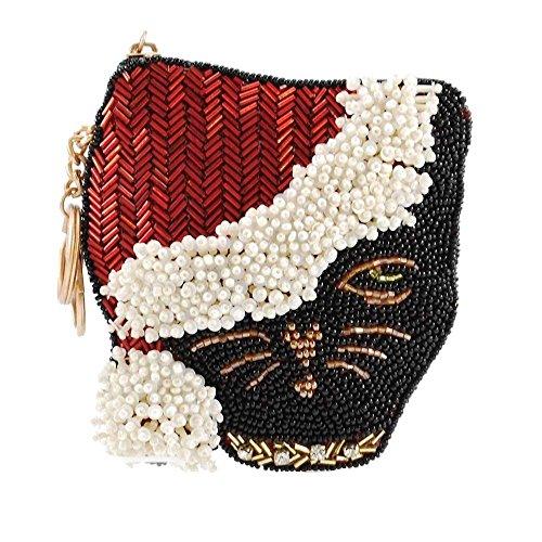 MARY FRANCES Santa Claws, Santa Hat Cat Coin Purse-Key Fob