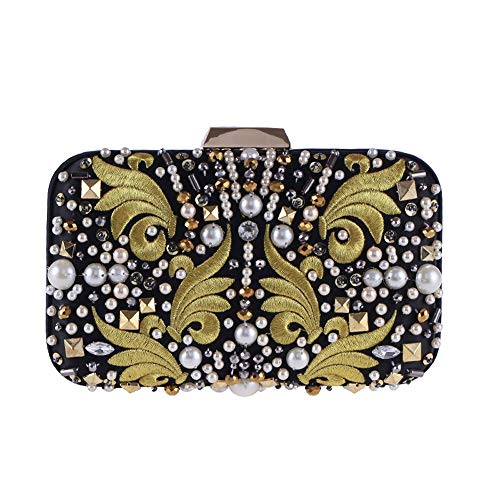 RMXMY Europe and The United States Fashion Casual Casual Atmosphere Clutch Bag Embroidery Beaded Dinner Bag Cheongsam Dress with The Trend of Wild Pearl Craft Ladies Bag