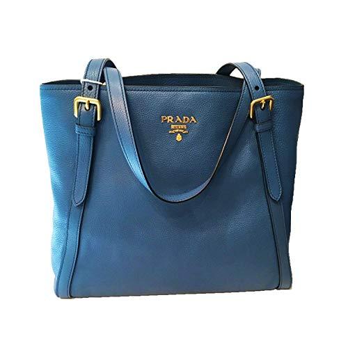 Prada Cobalt Blue Vitello Phenix Designer Shopping Tote for Women 1BG064