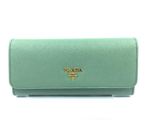 Prada Portafoglio Pattina Acquamarina Saffiano Leather Continental Wallet 1MH132