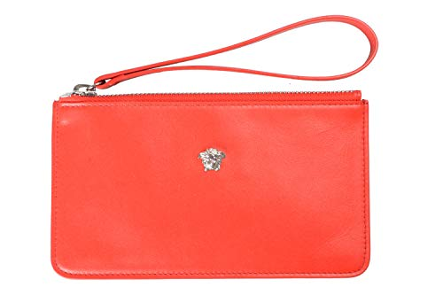 Versace 100% Leather Red Women's Wristlet Wallet Clutch
