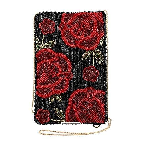 MARY FRANCES Spanish Rose Beaded Crossbody Phone Bag