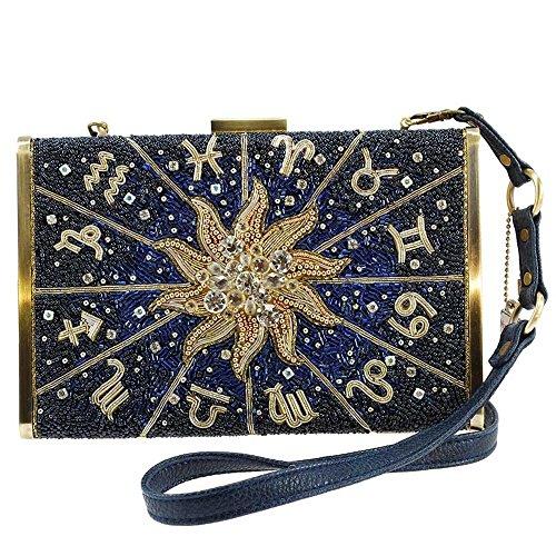 MARY FRANCES Celestial Zodiac, Beaded Crossbody Handbag
