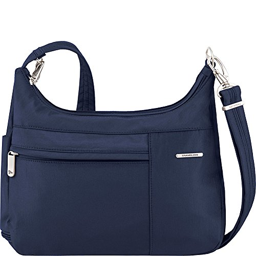 Travelon Anti-Theft Medium Welted Double Zip Crossbody – Lightweight Water & Dirt Resistant Handbag – (Royal Blue/Gray Interior)