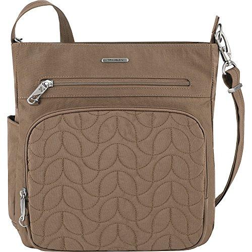 Travelon Anti-Theft Quilted North South Bag – Medium Nylon Crossbody for Travel & Everyday – (Sable/Dark Emerald Interior)