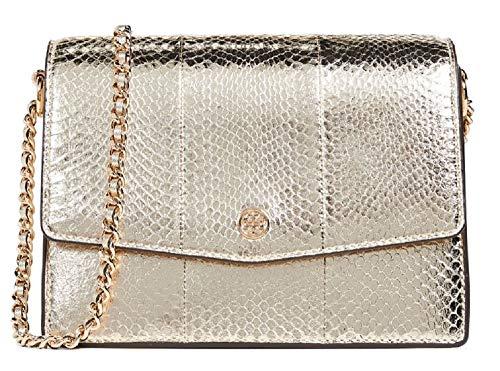 Tory Burch Women's Robinson Exotic Gold Leather Cross Body Handbag
