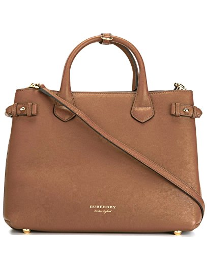 Burberry Women's The Medium Banner in Leather and House Check Tan