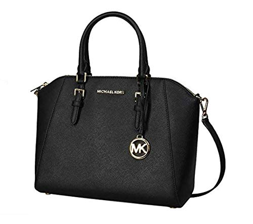 Michael Kors Large Ciara Saffiano Leather Womens Satchel (Black)