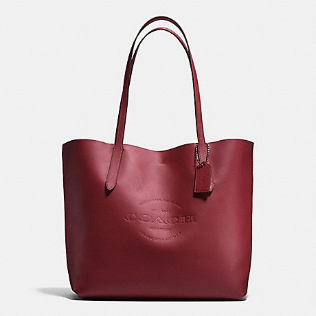 HUDSON TOTE IN NATURAL COACH SMOOTH LEATHER F59403, BRICK