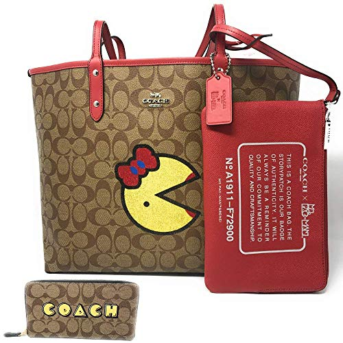 COACH LIMITED EDITION COATED CANVAS/RED REVERSIBLE MS PACMAN TOTE | COACH WRISTLET AND WALLET 3in1 BUNDLE