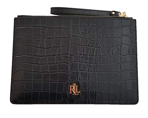 Lauren Ralph Lauren Woman's Take Everything Crocodile Embossed Leather Pouch Clutch Wristlet (Black)