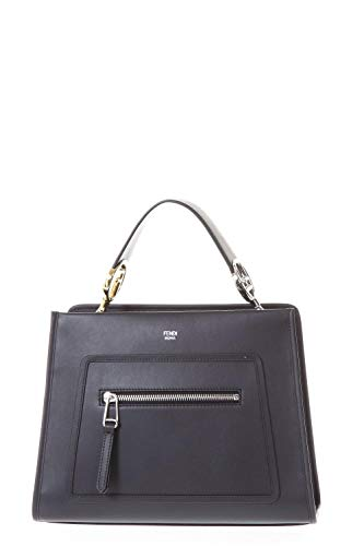 Fendi Shopping Bag Runaway Calf Leather Black Palladium Metal Hardware Satchel 8BH344