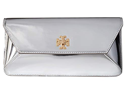 Tory Burch Kira Metallic Envelope Clutch in Silver