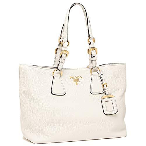 Prada Vitello Phenix White Leather Shopping Tote Handbag 1BG043