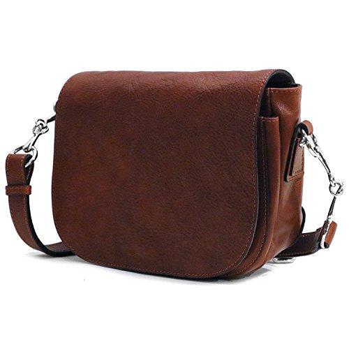 Floto Women's Roma Saddle Bag in Brown Italian Calfskin Leather – Handbag Shoulder Bag