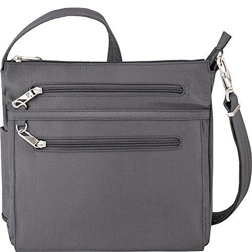 Travelon Anti-Theft Essential North/South Bag – Small Nylon Crossbody for Travel & Everyday – (Pewter/Dark Emerald Interior)