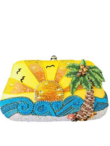 Mary Frances Rare Ltd Edition Here Comes the Sun Beaded Jewel Sun Ocean Palm Tree Handbag Shoulder Bag